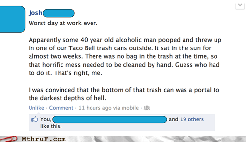 homeless guy,taco bell,trash bin