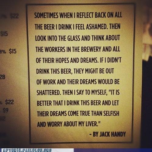 beer employees,job creation,liver,selfish