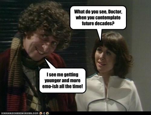 doctor who,Elisabeth Sladen,emo,sarah jane smith,the doctor,tom baker,younger