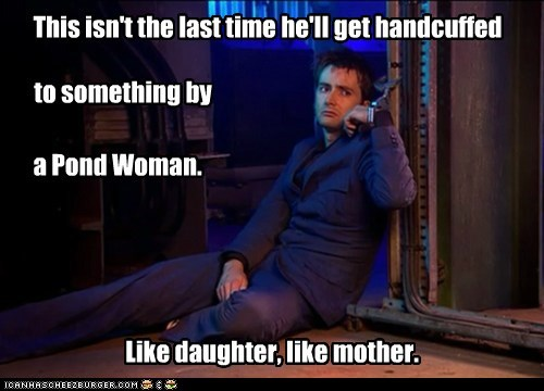 David Tennant,the doctor,doctor who,pond,handcuffs,like mother like daughter,River Song