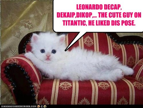 LEONARDO DECAP, DEKAIP,DIKOP,... THE CUTE GUY ON TITANTIC, HE LIKED DIS POSE.