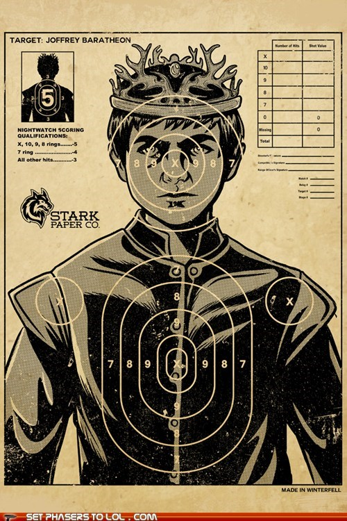 a song of ice and fire,Game of Thrones,joffrey baratheon,poster,practice,shooting range,Target