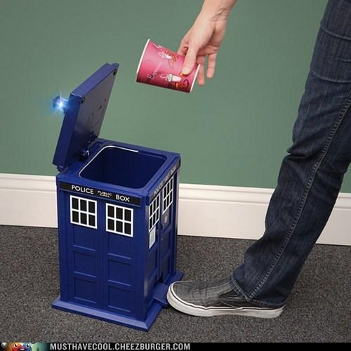 doctor who,garbage can,tardis,trash,TV,waste paper basket