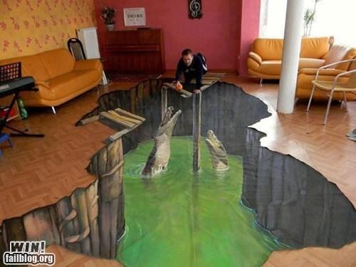 crocodile,floor,illusion,painting,perspective