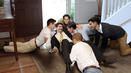 Paul Ryan Knocked Over By Pack Of Rambunctious Romney Boys