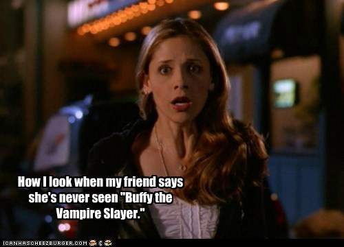 Buffy the Vampire Slayer,buffy summers,Sarah Michelle Gellar,friend,tv show,shock,how i look,sci fi