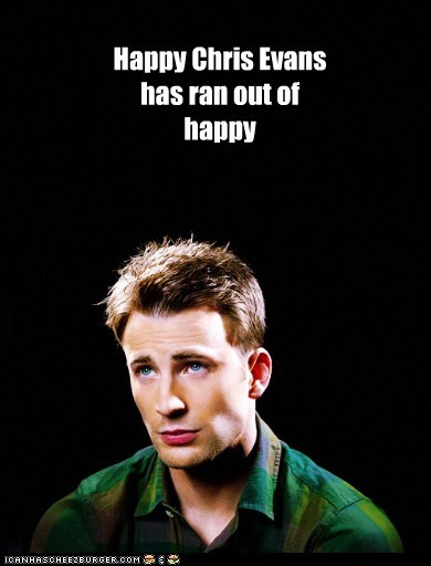 Happy Chris Evans has ran out of happy