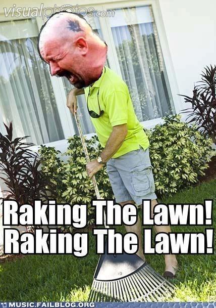 breaking the law,judas priest,raking the lawn,yardwork