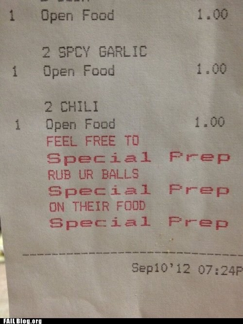 customer service,food,gross,preparations,receipt,restaurant,whoops