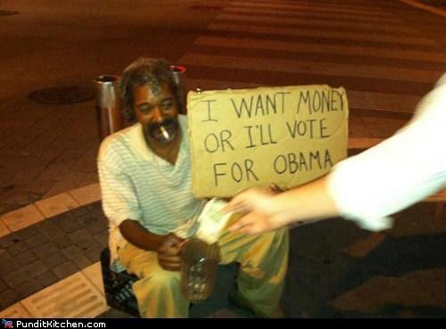 barack obama,homeless sign,money,Wall Street