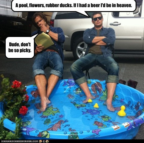 Supernatural,Jared Padalecki,jensen ackles,pool,flowers,rubber duck,beer,picky,sam winchester,dean winchester