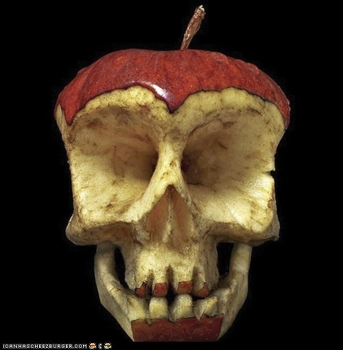 Macabre Food - Apple Core Skull