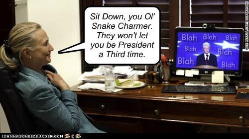 Hillary Clinton,bill clinton,snake charmer,president,third time,speech,watching