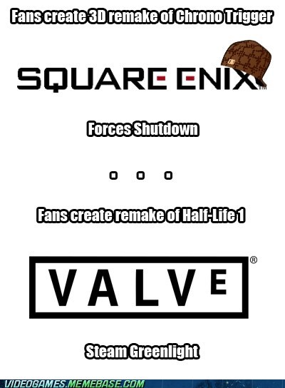 Scumbag Square Enix and Good Guy Valve