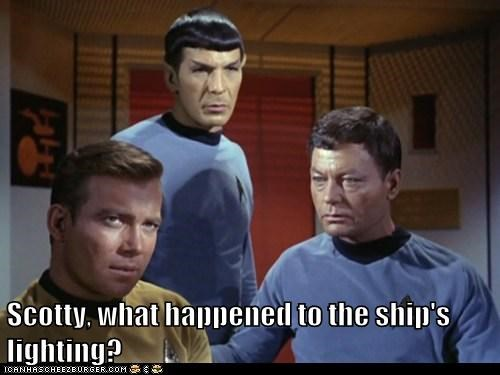 Scotty, what happened to the ship's lighting?