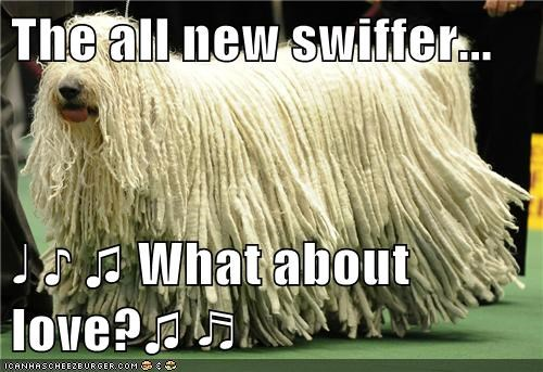 The all new swiffer...  ♩ ♪ ♫ What about love?♫ ♬