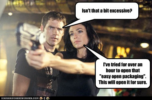ben browder,john chrichton,aeryn sun,claudia black,excessive,packaging,gun,shooting,for sure