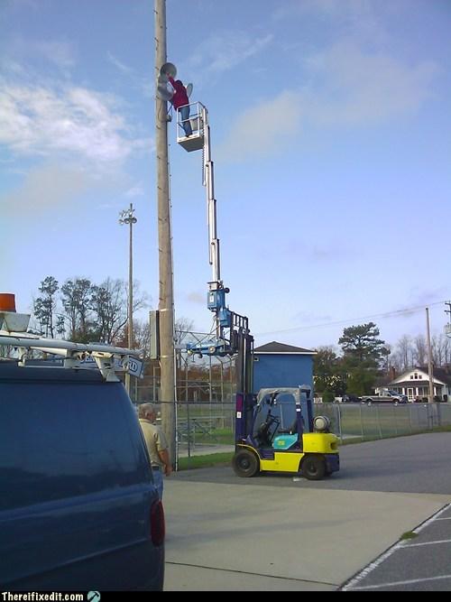 forklift,crane,telephone pole