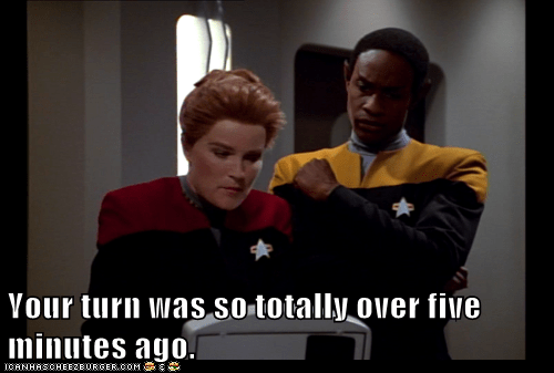 kate mulgrew,tim russ,captain janeway,tuvok,video games,your turn,over,Star Trek,voyager