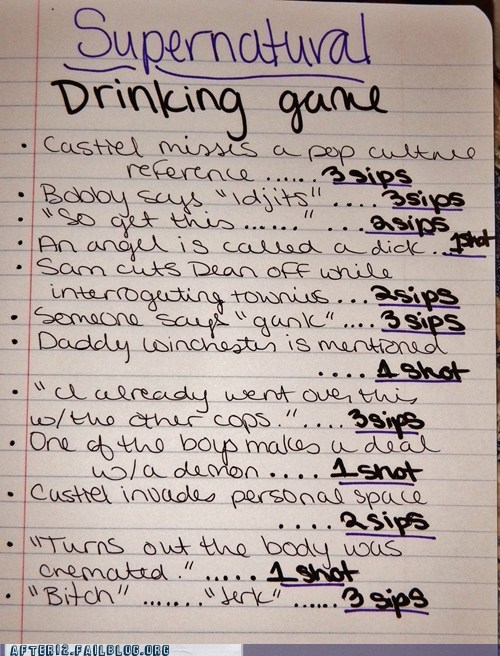 dean,drinking games,Sam,Supernatural,winchesters