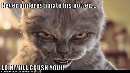 Never underestimate his power....  LOKI WILL CRUSH YOU!!