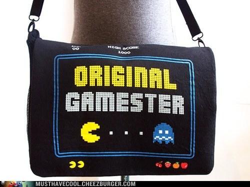 bag,gamer,logo,messenger bag,OG,pac man