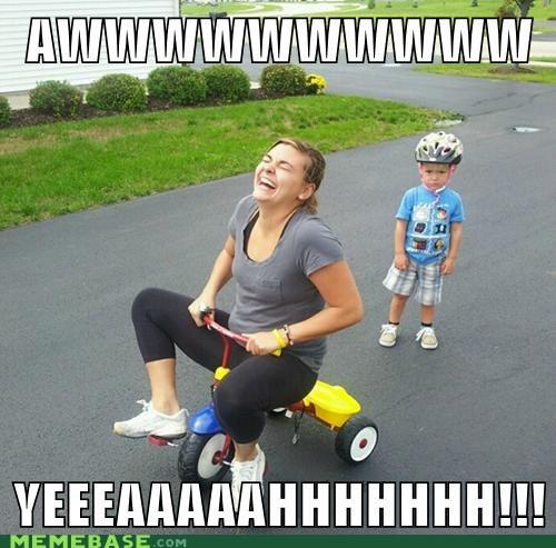 aw yeah,bikes,kids,mom,never grow up