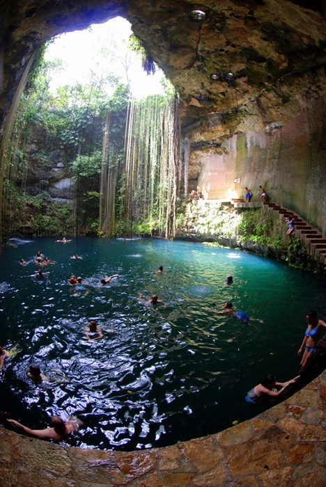 Destination WIN!: A Quick Dip in the Sagrado Cenote Azul, Chichen Itza, Mexico