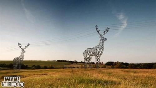 art,deer,design,power line