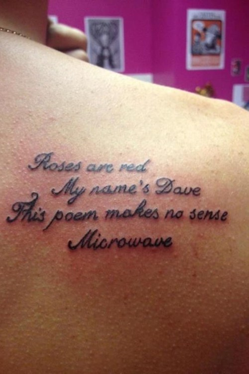 Ugliest Tattoos: At Least it Rhymes