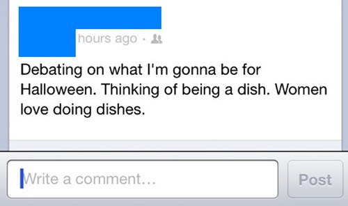 dish,doing the dishes,halloween costume,sexism,stereotypes