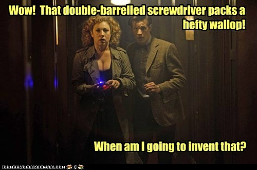 the doctor,Matt Smith,doctor who,River Song,alex kingston,sonic screwdriver,invent,double barreled