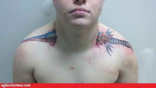 neck tattoos,shoulder tattoos,sword