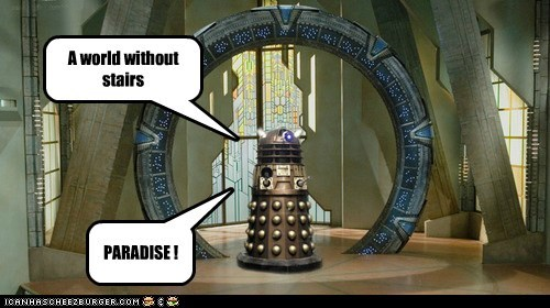 Stargate,dalek,doctor who,stairs,happy,paradise
