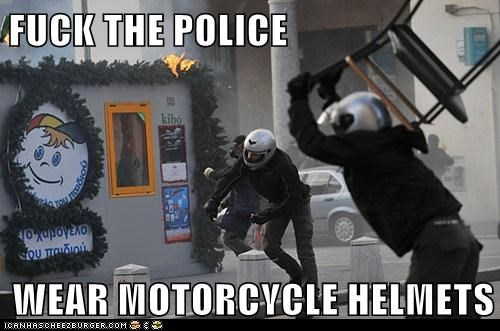 F**K THE POLICE  WEAR MOTORCYCLE HELMETS