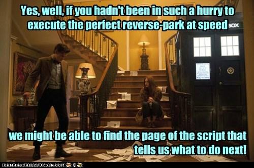 doctor who,the doctor,karen gillan,Matt Smith,amy pond,park,script,what to do,arguing,terminator 2