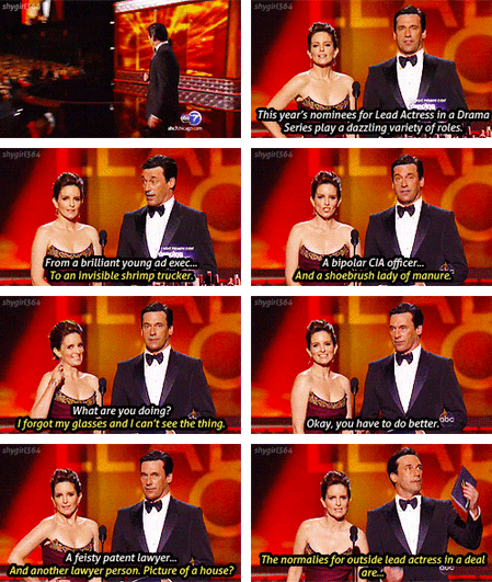 2012 Emmy Awards Update: Tina Fey and Jon Hamm = PERFECTION