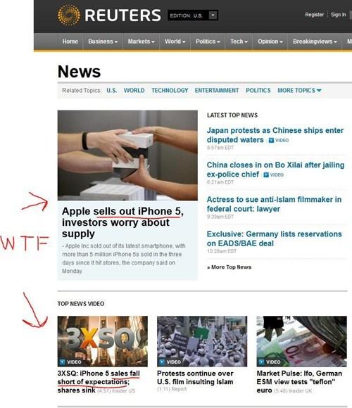 apple,headline fail,headlines,iphone,iphone 5,reuters