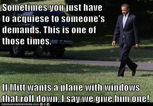 barack obama,demands,Mitt Romney,plane,windows
