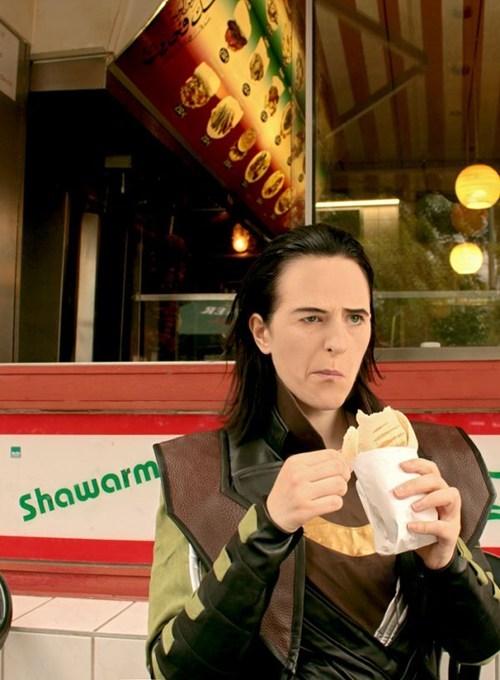 avengers,eating,fan art,loki,not impressed,photography,shawarma