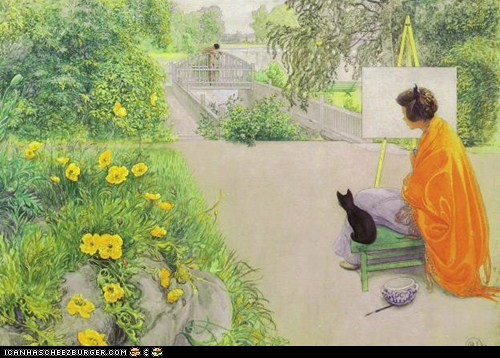 Young Woman in Orange with Black Kitten Painting  by Carl Larsson (1912)