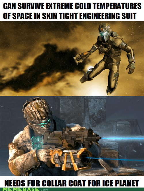 dead space 3,fur coat,makes sense,video game logic