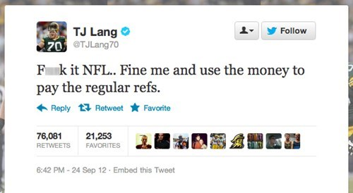 Green Bay Packers Guard TJ Lang Finds an Easy Solution to the NFL Referee Dispute