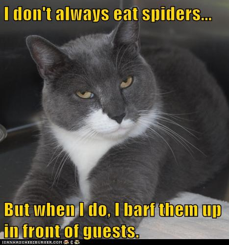 I don't always eat spiders...  But when I do, I barf them up in front of guests.