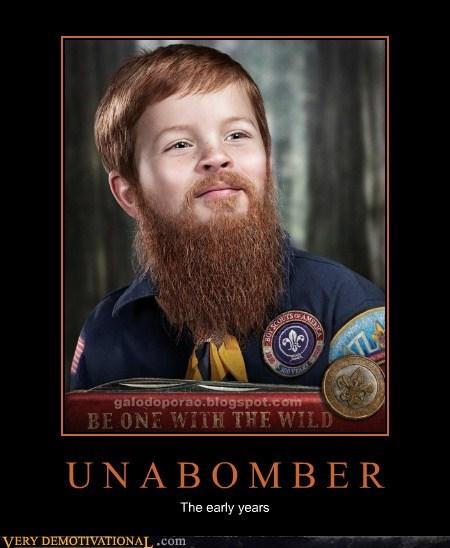 beard,boy scout,kid,unibomber