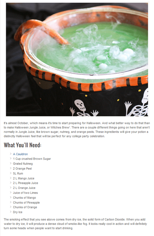 Early Morning Happy Hour: Halloween Jungle Juice