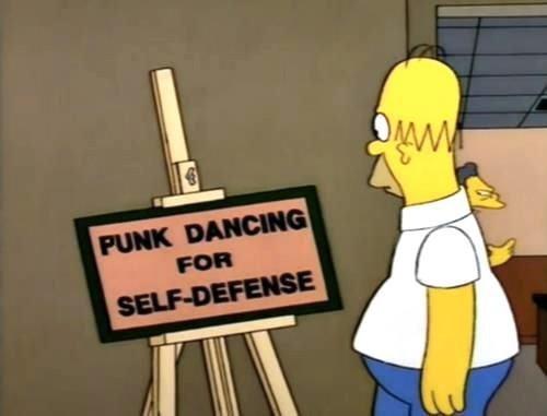 homer simpson,punk dancing,self defense,the simpsons