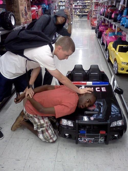 arrest,police,satire,toy store