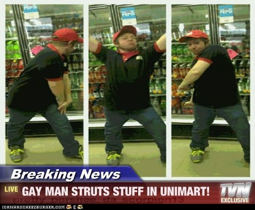 Breaking News - GAY MAN STRUTS STUFF IN UNIMART!