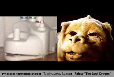 "My Broken Toothbrush Charger Totally Looks Like Falcor ""The Luck Dragon"""